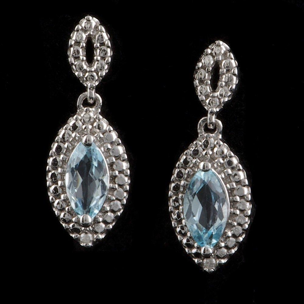 925 Sterling Silver 0.60ct Topaz Diamond Earrings