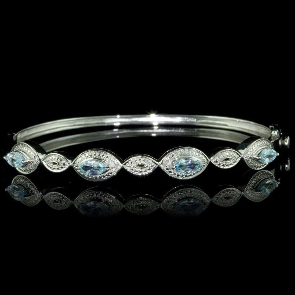 925 Sterling Silver 2ct Topaz Diamond Bracelet