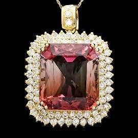 18k Y Gold 43ct Tourmaline 3.35ct Diamond Pendant