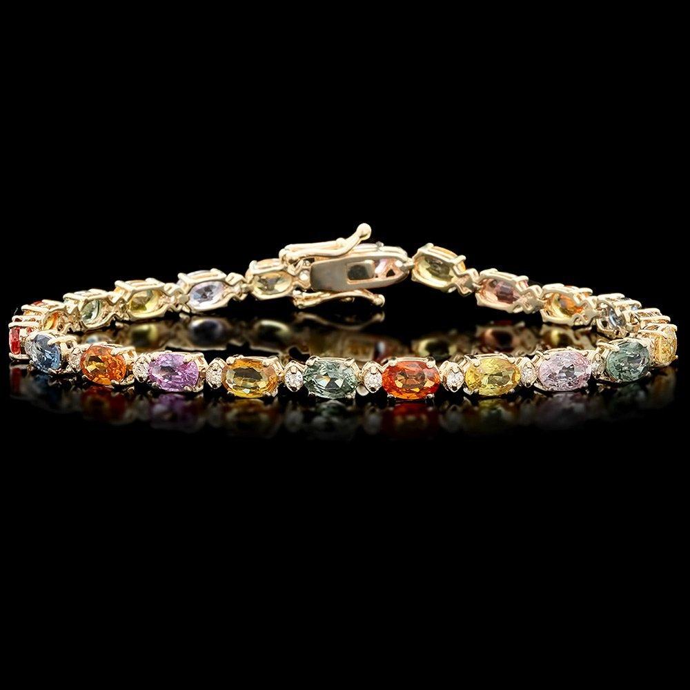 14k Gold 13ct Sapphire 0.50ct Diamond Bracelet