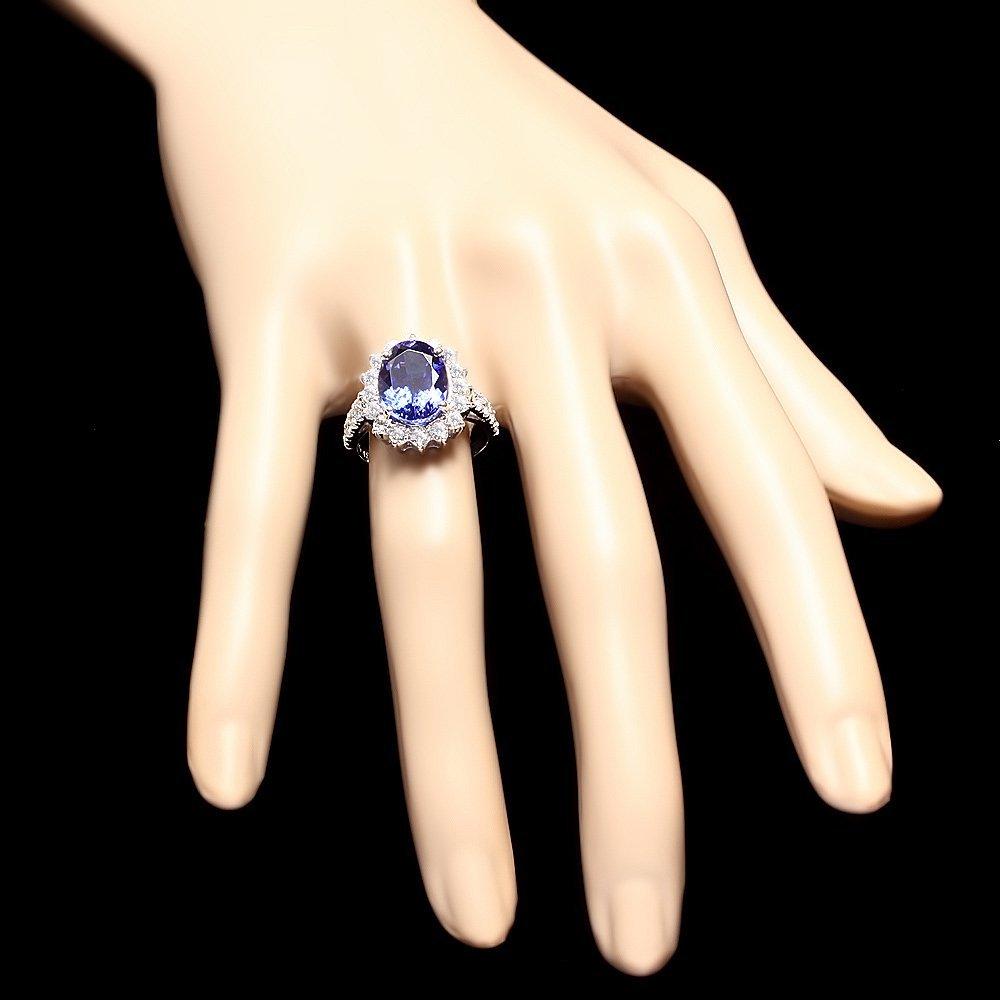 18k Gold 7ct Tanzanite 1.50ct Diamond Ring - 4