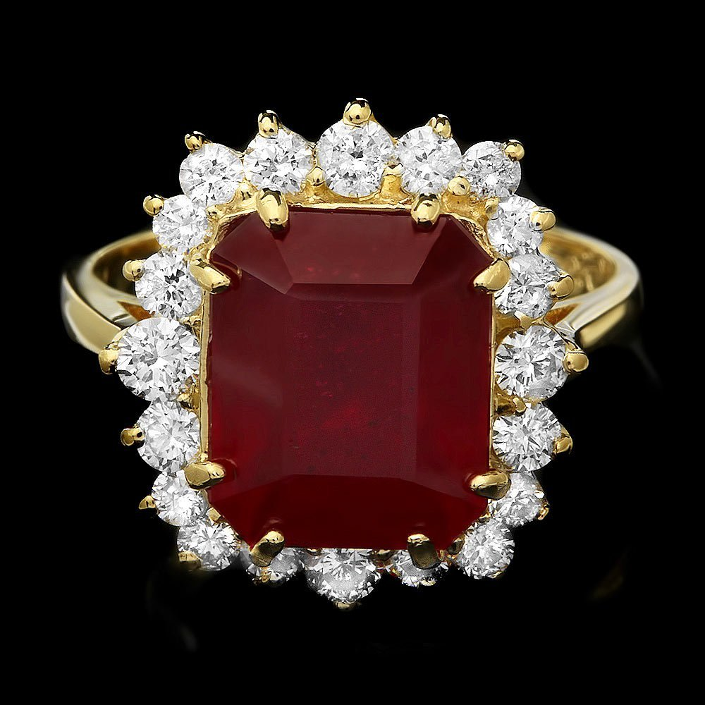 14k Yellow Gold 7.30ct Ruby 0.90ct Diamond Ring