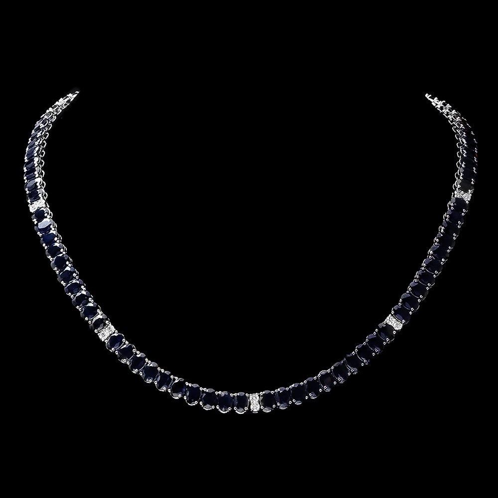 14k Gold 53ct Sapphire 1.20ct Diamond Necklace