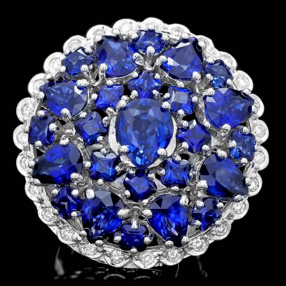14k Gold 12.5ct Sapphire 0.75ct Diamond Ring
