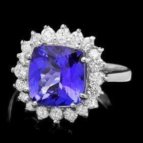14k Gold 4ct Tanzanite 0.90ct Diamond Ring