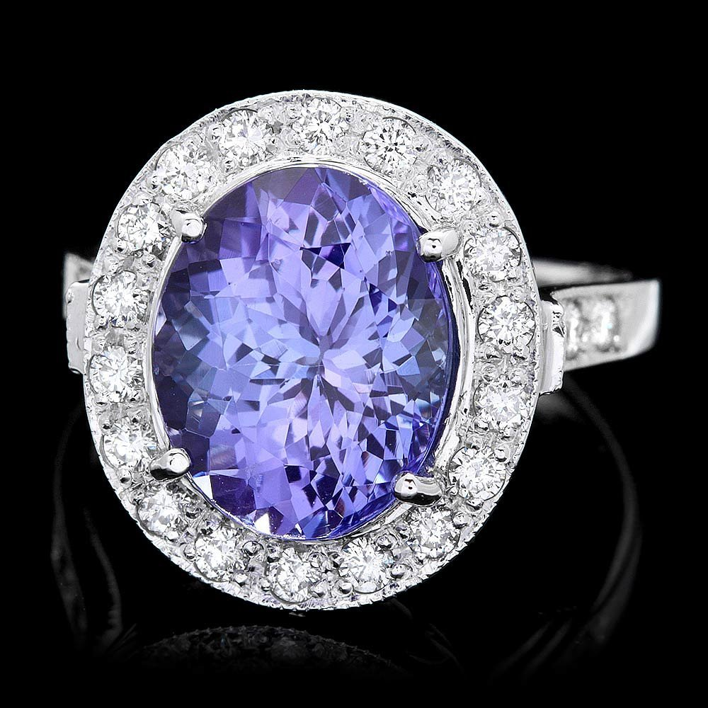 14k Gold 5ct Tanzanite 0.70ct Diamond Ring