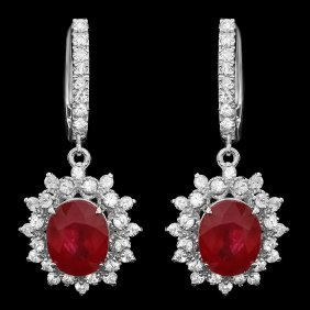 14k Gold 8ct Ruby 2ct Diamond Earrings
