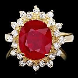 14k Yellow Gold 5.50ct Ruby 0.60ct Diamond Ring