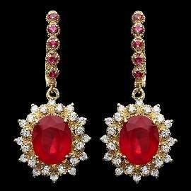 14k Gold 11ct Ruby 1.30ct Diamond Earrings