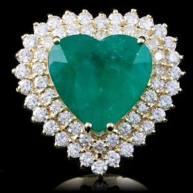14k Gold 11ct Emerald 2.80ct Diamond Ring