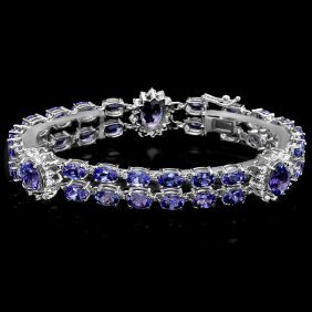 14k Gold 21ct Tanzanite 1.66ct Diamond Bracelet