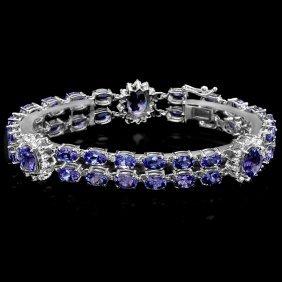 14k Gold 21ct Tanzanite 1.66ct Diamond Bracelet