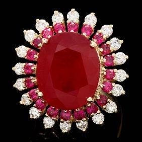 14k Yellow Gold 17.5ct Ruby 1.50ct Diamond Ring
