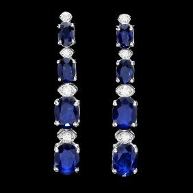 14k Gold 6.5ct Sapphire .30ct Diamond Earrings