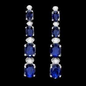 14k Gold 6.5ct Sapphire .30ct Diamond Earrings