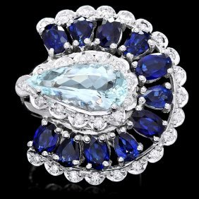 14k Gold 5ct Aquamarine 1.10ct Diamond Ring