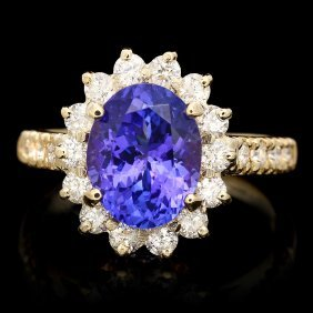 14k Gold 2.50ct Tanzanite 1.20ct Diamond Ring