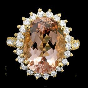 14k Gold 8ct Morganite 1.30ct Diamond Ring