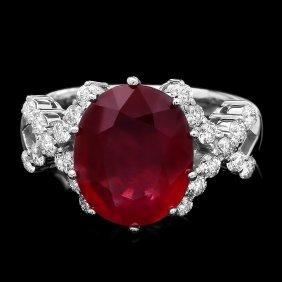 14k White Gold 6.25ct Ruby 0.70ct Diamond Ring