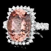 14k Gold 9ct Morganite 1.50ct Diamond Ring