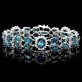 14k Gold 505ct Topaz 160ct Diamond Bracelet