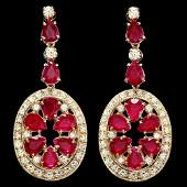 14k Gold 1550ct Ruby 3ct Diamond Earrings