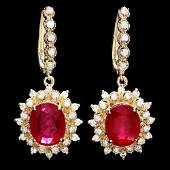 14k Gold 1150ct Ruby 170ct Diamond Earrings