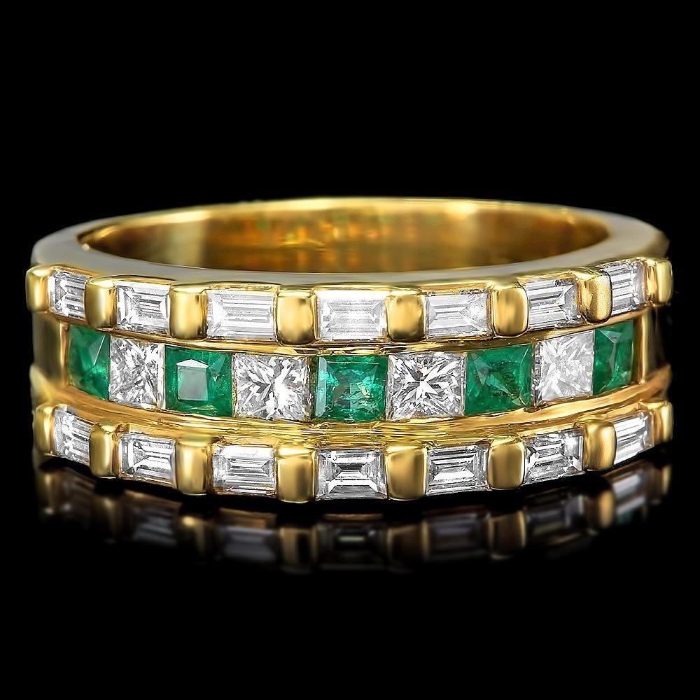 14k Yellow Gold 0.30ct Emerald 1.8ct Diamond Ring