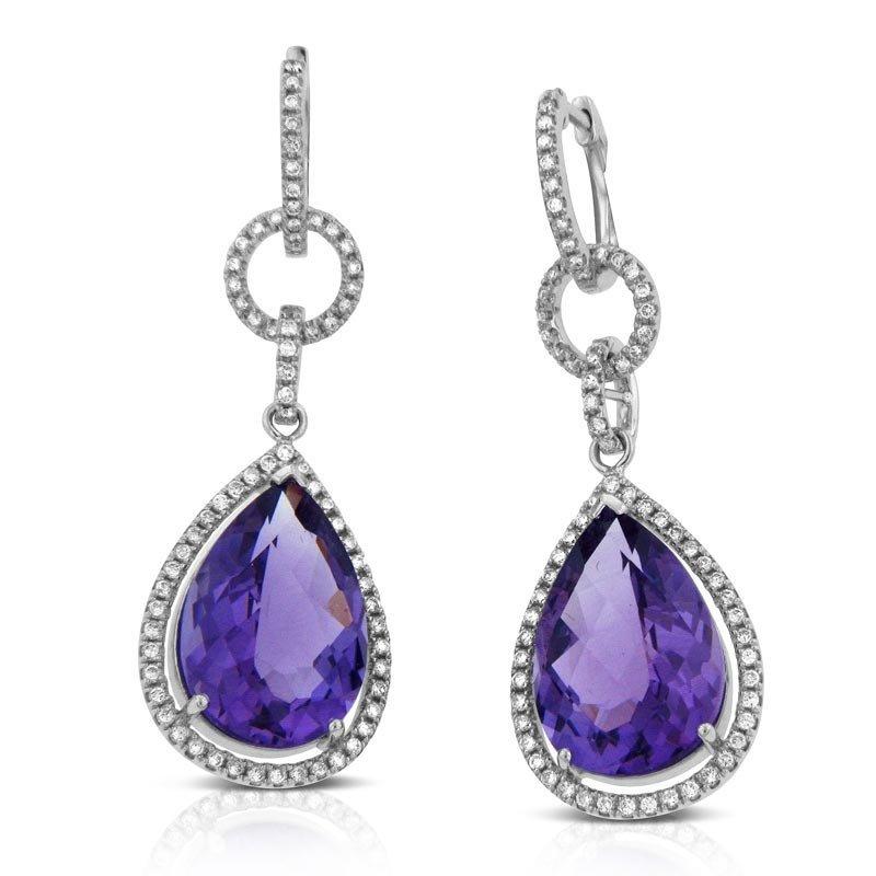 14k Gold 0.7ct Diamond 11.26ct Amethyst Earrings