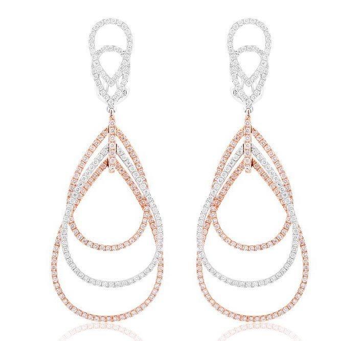 18k Multi-Tone Gold 2.32ct Diamond Earrings