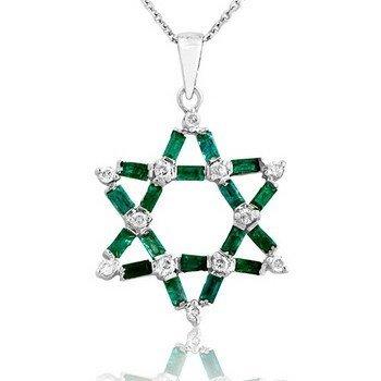 14k Gold 0.3ct Diamond 1.14ct Emerald Pendant
