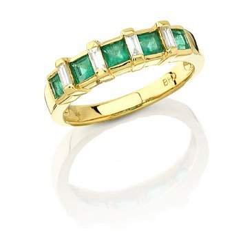 18k Yellow Gold 0.2ct Diamond 0.65ct Emerald Ring