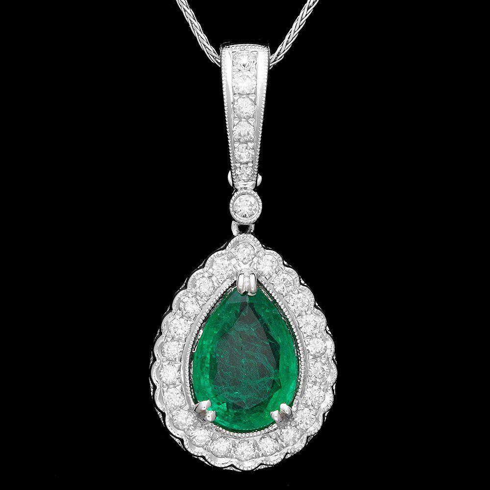 14k Gold 2.20ct Emerald 0.50ct Diamond Pendant