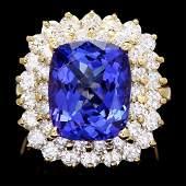 14k Gold 7.00ct Tanzanite 2.50ct Diamond Ring
