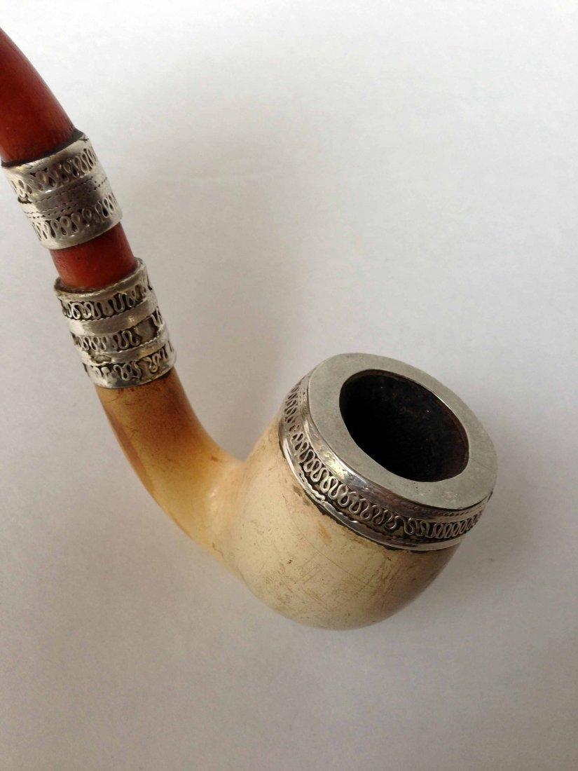 Antique German Silver & Ivory Smoke Pipe - 2