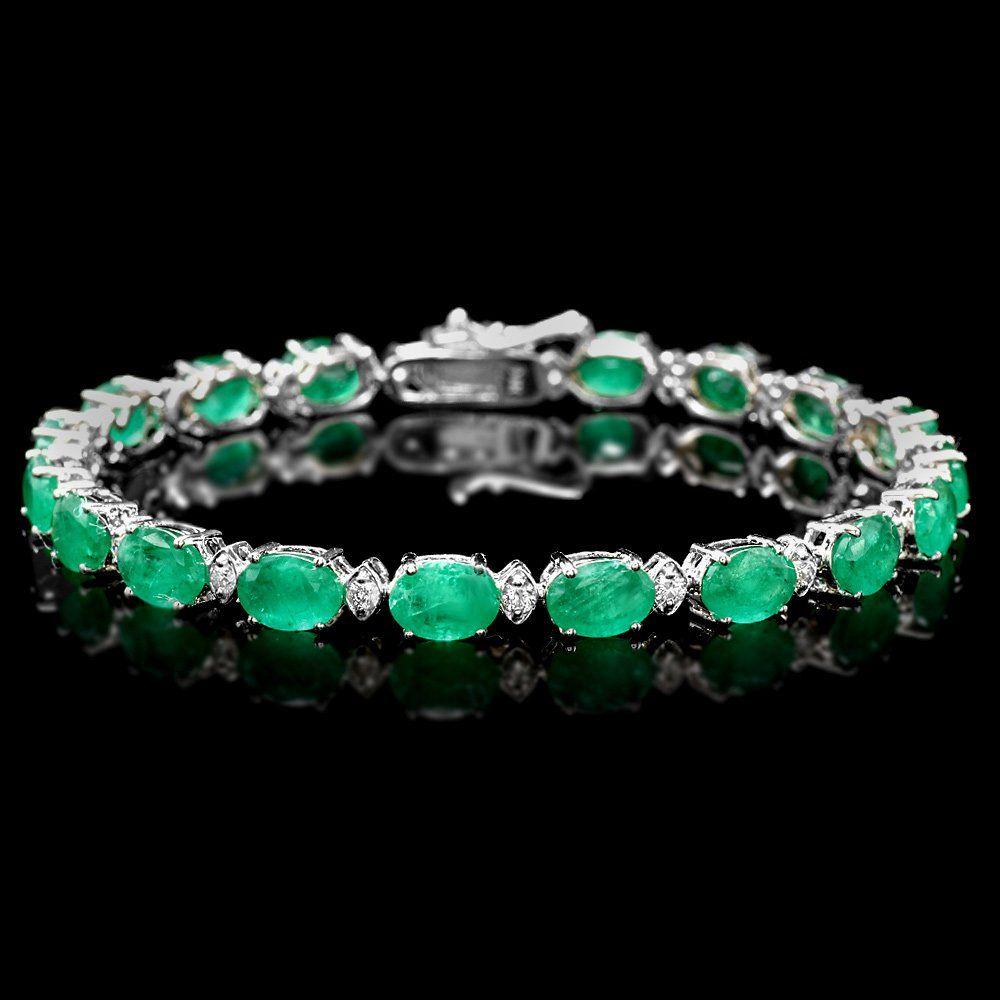 14k Gold 13.5ct Emerald .75ct Diamond Bracelet