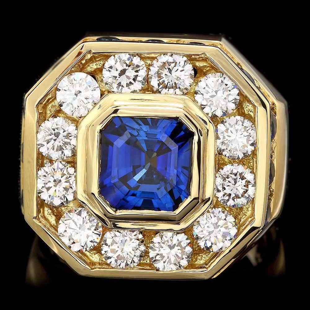 18k Gold 7.5ct Sapphire 3.20ct Diamond Mens Ring