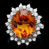 14k White Gold 700ct Citrine 070ct Diamond Ring