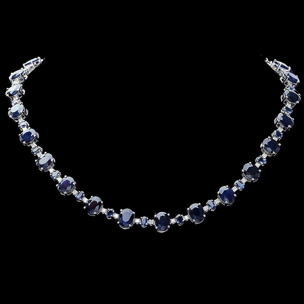 14k Gold 63ct Sapphire 2.10ct Diamond Necklace