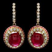 14k Gold 223ct Ruby 120ct Diamond Earrings