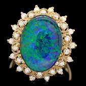 14k Yellow Gold 5.00ct Opal 0.50ct Diamond Ring