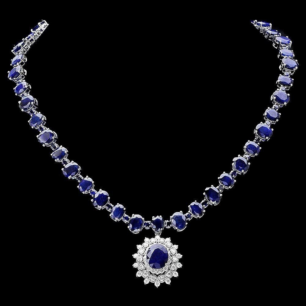 14k Gold 87ct Sapphire 2.50ct Diamond Necklace