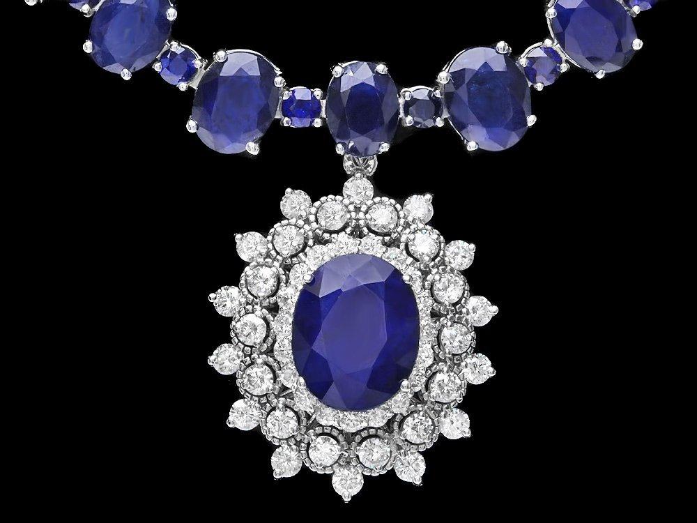 14k Gold 87ct Sapphire 2.50ct Diamond Necklace - 2