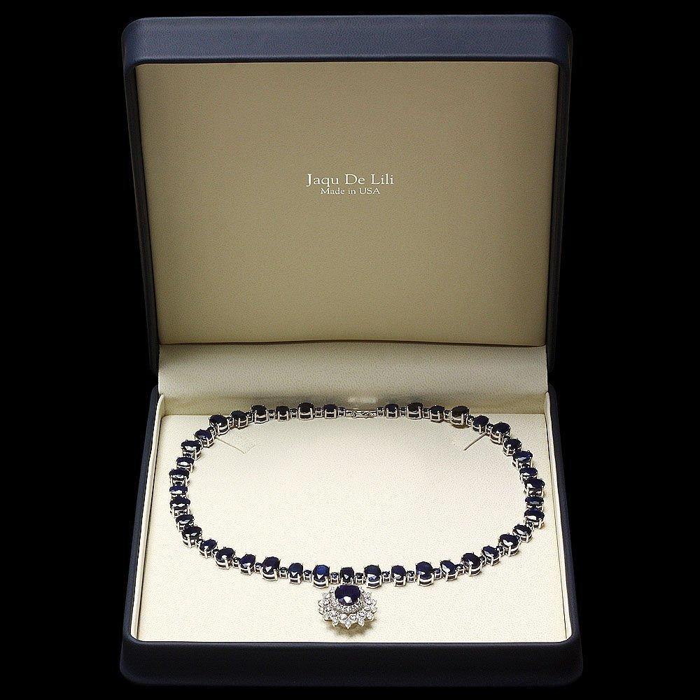 14k Gold 87ct Sapphire 2.50ct Diamond Necklace - 5