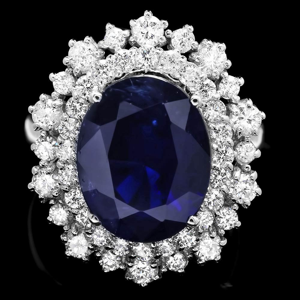 14k Gold 6.75ct Sapphire 1.25ct Diamond Ring