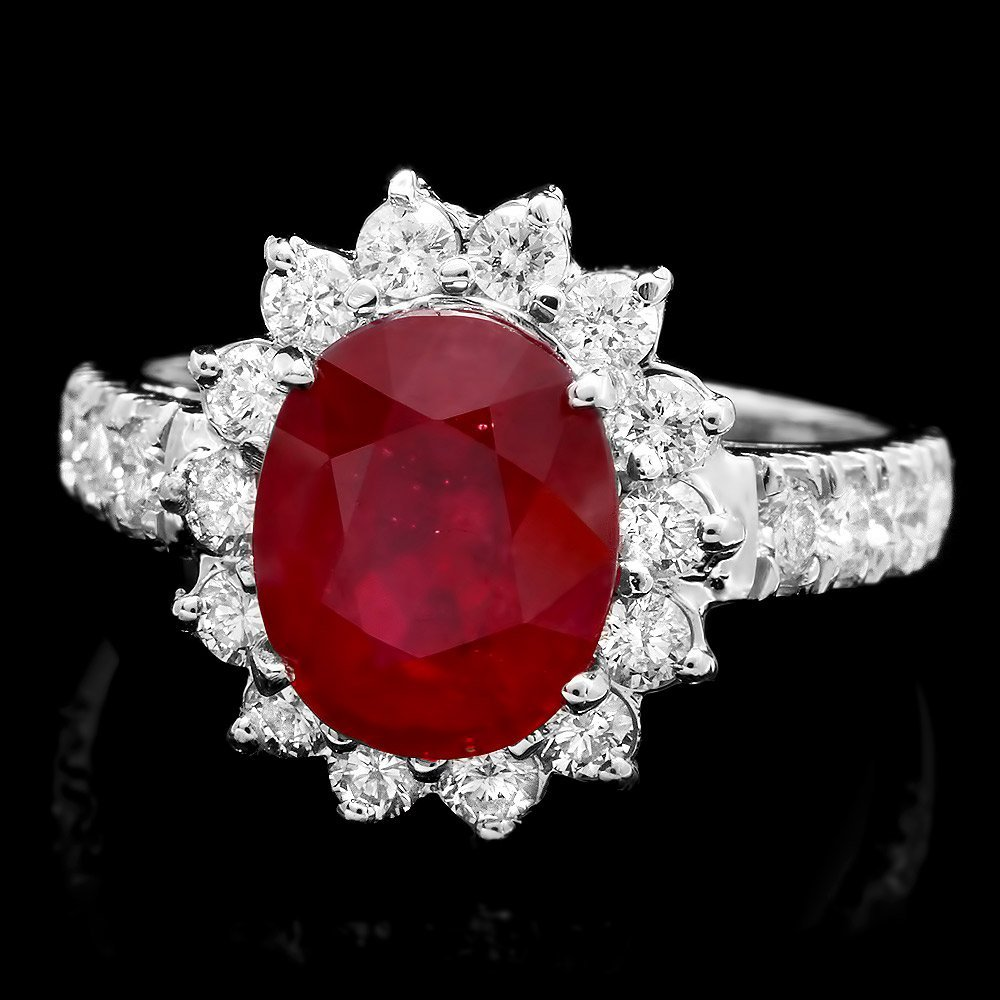 14k White Gold 4.00ct Ruby 1ct Diamond Ring