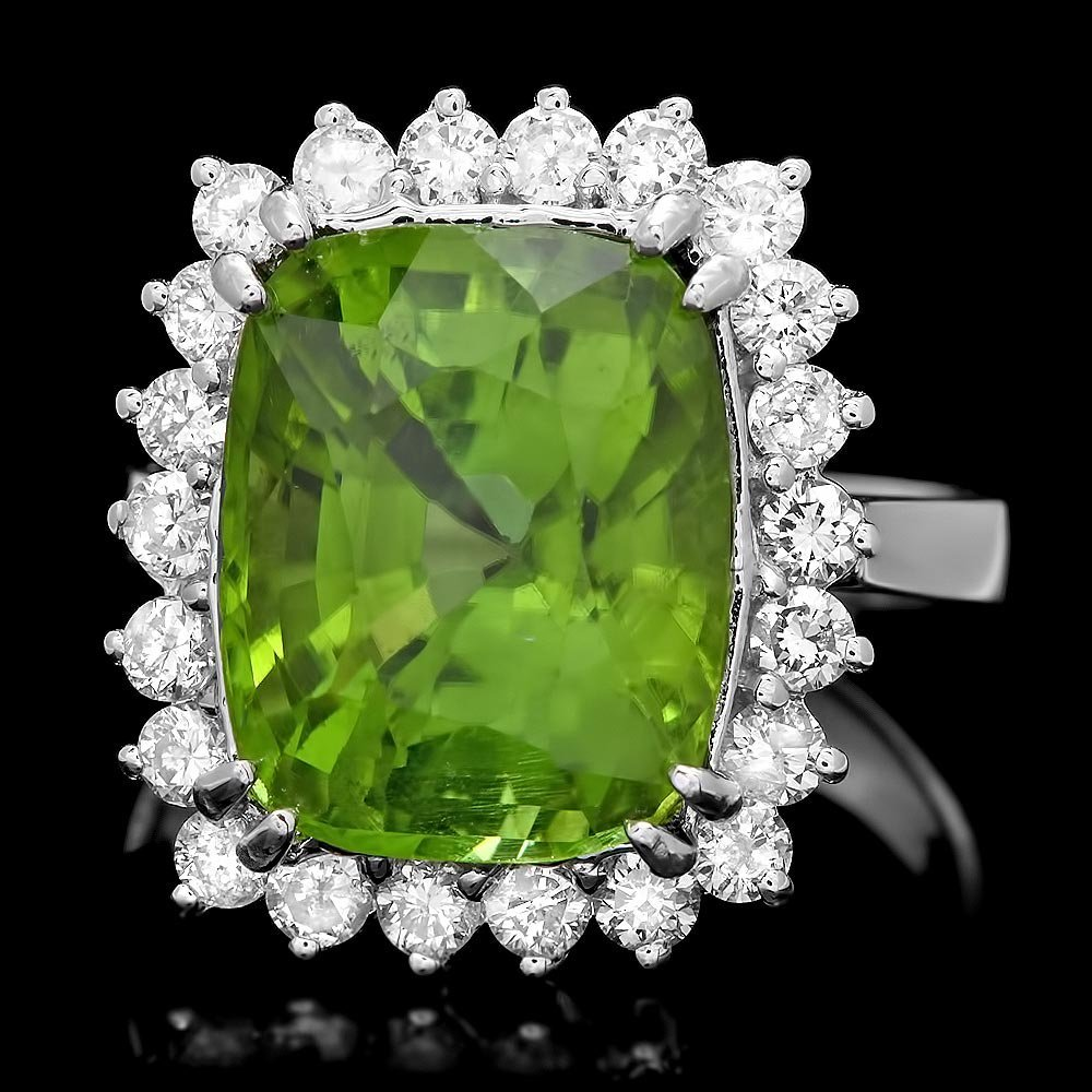 14k White Gold 9.00ct Peridot 1.00ct Diamond Ring