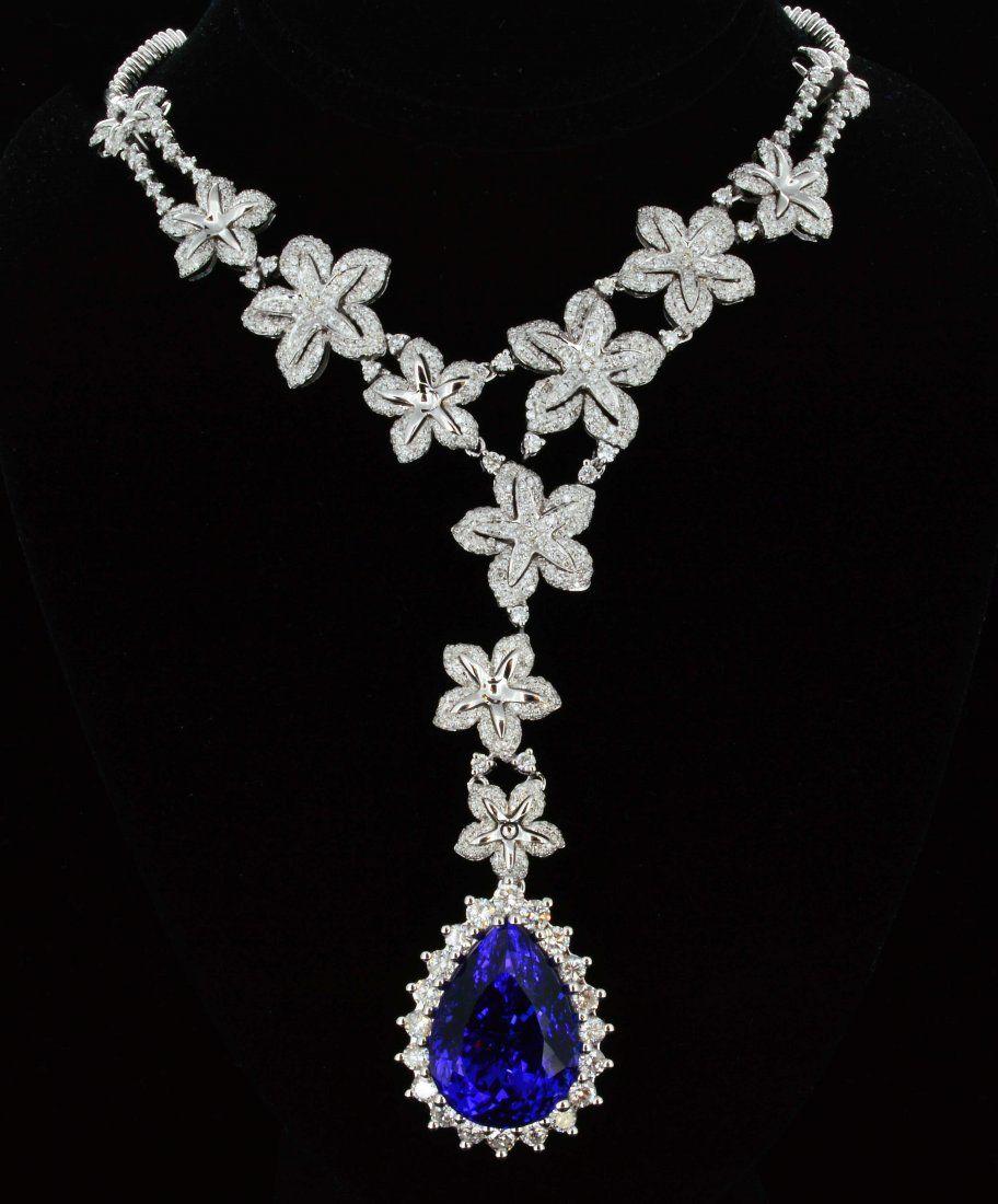 8K Gold, 21.01CT Tanzanite & 8.80CT Diamond Necklace