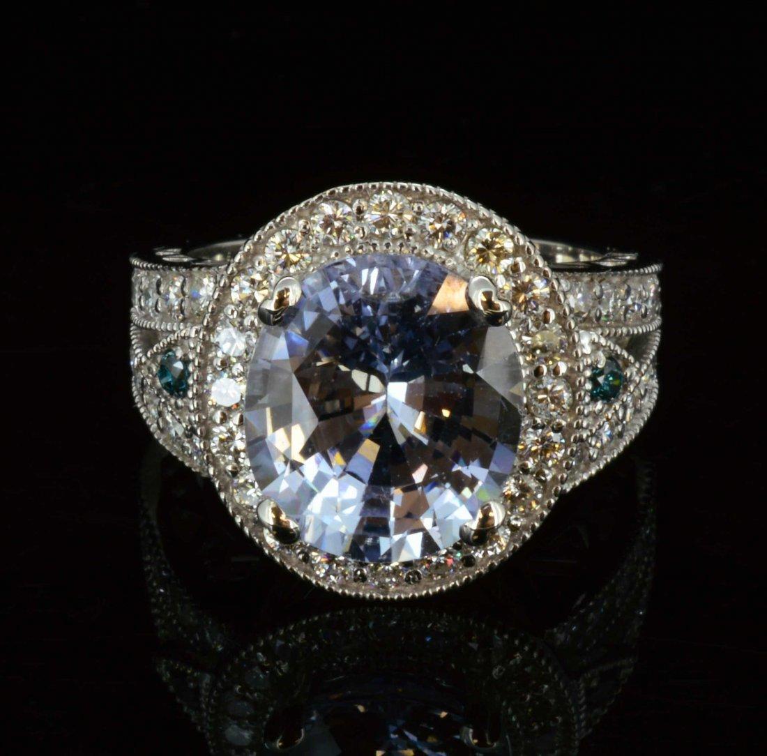 14K Gold, 6.92CT White Sapphire & 1.10CT Diamond Ring