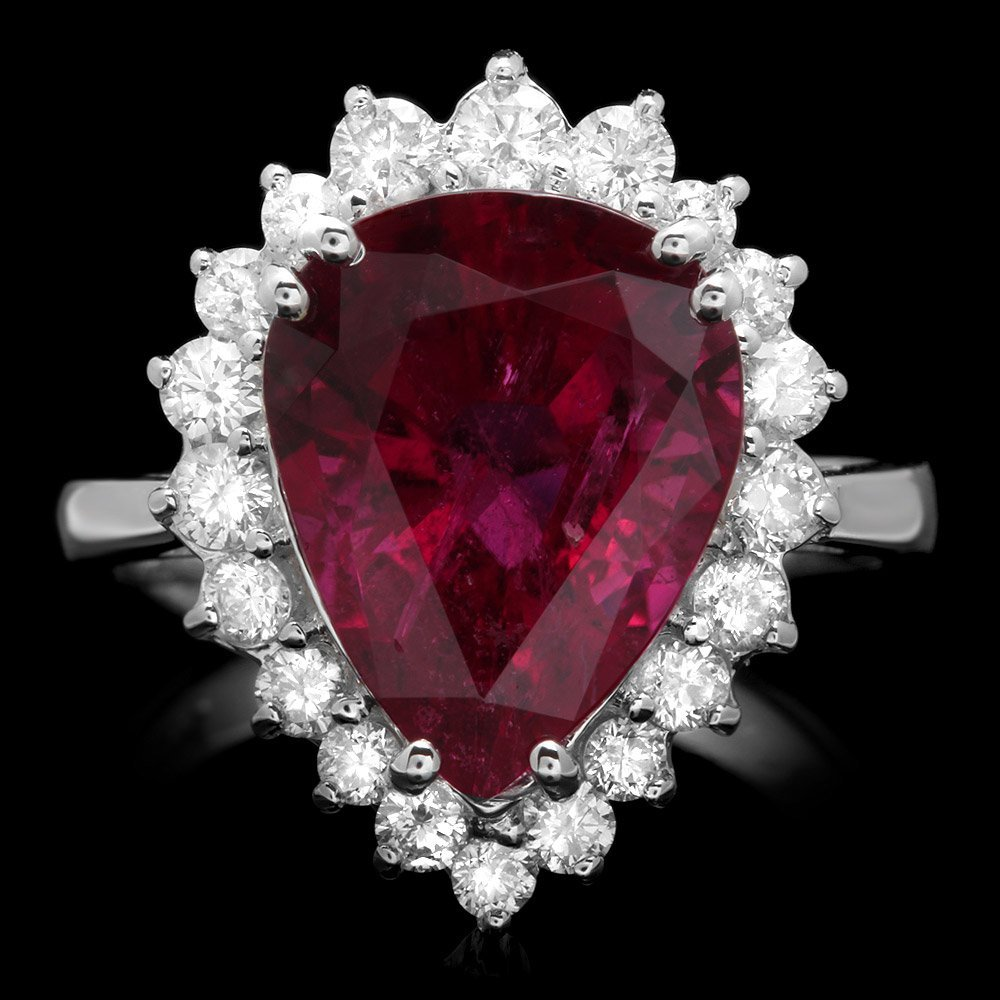 14k Gold 5.00ct Tourmaline 0.80ct Diamond Ring